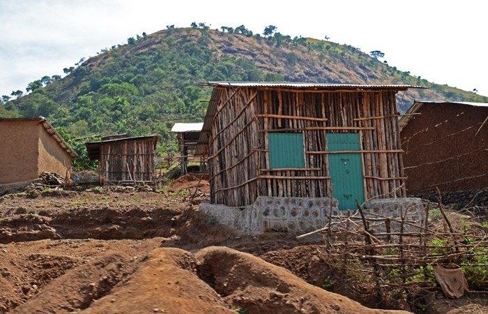 Construcciones típicas de las aldeas en el Tekeze